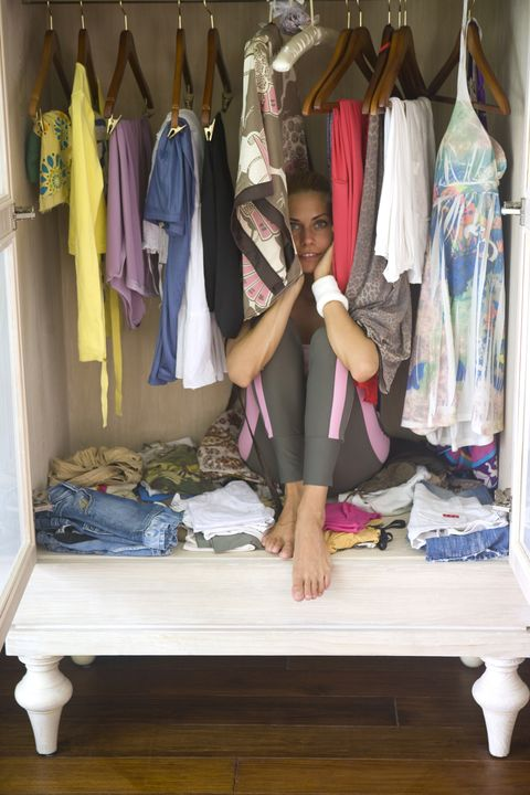 Room, Closet, Wardrobe, Clothes hanger, Textile, Furniture, Boutique,