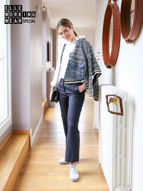 Clothing, Brown, Sleeve, Shoulder, Outerwear, Standing, Style, Collar, Floor, Denim,