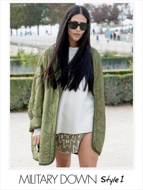 Clothing, Glasses, Sleeve, Green, Shoulder, Textile, Outerwear, Sunglasses, Style, Street fashion,