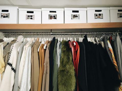 Room, Textile, Clothes hanger, Fashion, Closet, Collection, Fashion design, Shelf, Boutique, Home accessories,