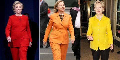 まもなく決戦 ヒラリー クリントンのスーツスタイルをレインボー