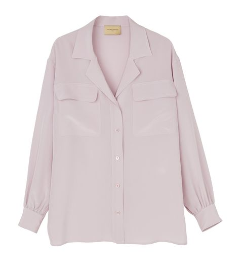 Clothing, Pink, Sleeve, Outerwear, Collar, Button, Shirt, Blouse, Top, Pocket,