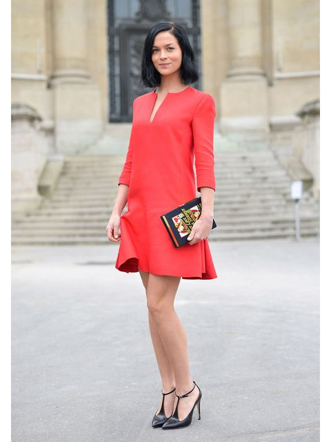 Clothing, Sleeve, Human leg, Shoulder, Shoe, Dress, Joint, Red, Style, Formal wear,