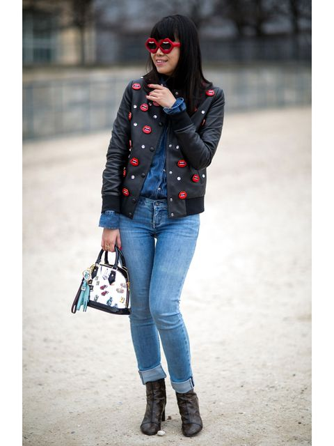 Clothing, Sleeve, Trousers, Denim, Jeans, Textile, Outerwear, Bag, White, Fashion accessory,