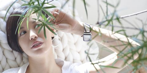 Finger, Skin, Eyelash, Wrist, Watch, Communication Device, Gadget, Photography, Audio accessory, Strap,