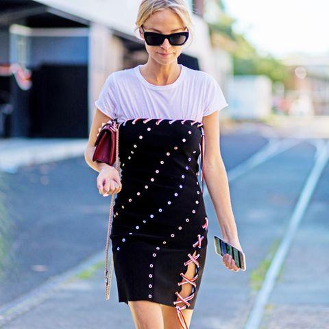 Clothing, Eyewear, Glasses, Sleeve, Dress, Shoulder, Sunglasses, Style, Street fashion, Summer,