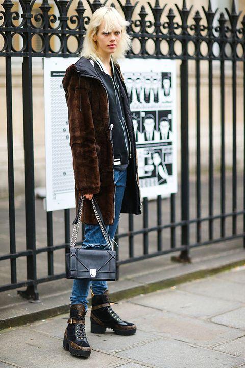 Clothing, Footwear, Sleeve, Jacket, Outerwear, Coat, Style, Street fashion, Winter, Fashion accessory,