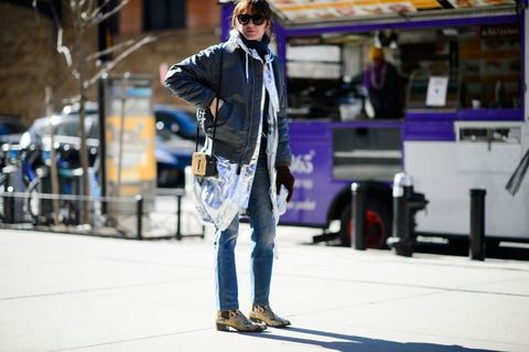 Trousers, Denim, Outerwear, Jeans, Jacket, Sunglasses, Street fashion, Goggles, Street, Bag,
