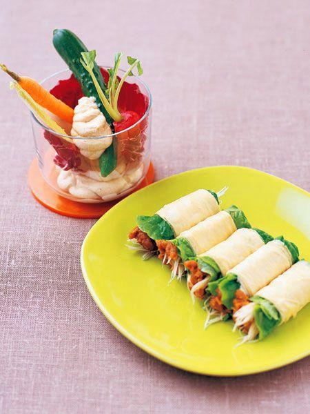 豆腐のディップと生野菜のパフェ風 納豆味噌、サンチュ、白髪ねぎの生湯葉ロール のレシピ・作り方|ELLE gourmet [エル・グルメ]