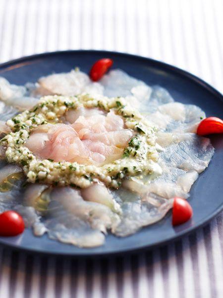 白身魚のカルパッチョ 塩麹ソース添え のレシピ・作り方|ELLE gourmet [エル・グルメ]