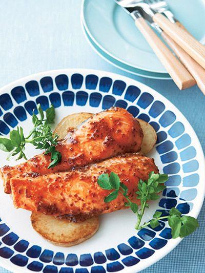 サーモンのハニーマスタード照り焼き のレシピ・作り方|ELLE gourmet [エル・グルメ]