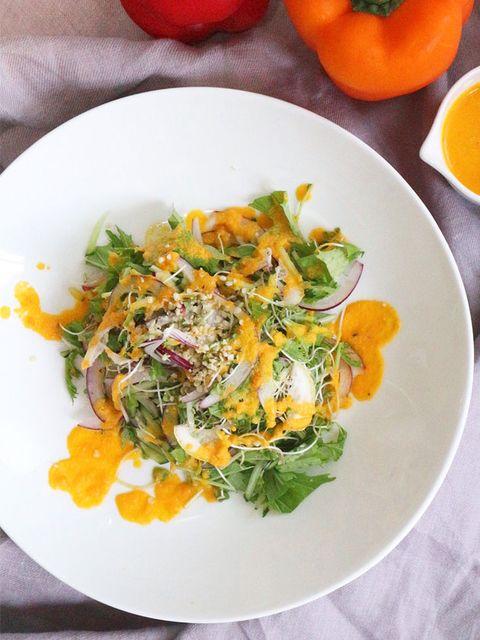 パプリカのオレンジスムージードレッシング のレシピ・作り方|ELLE gourmet [エル・グルメ]