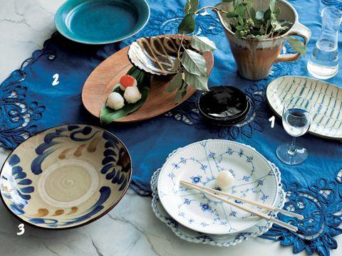 Serveware, Blue, Dishware, Porcelain, Tableware, Plate, Table, Ceramic, Blue and white porcelain, Glass,