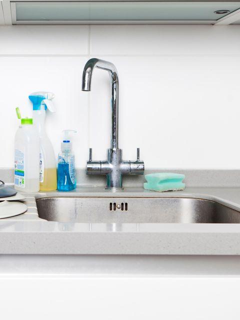Tap, Sink, Plumbing fixture, Bathroom sink, Plumbing, Room, Bathroom, Kitchen sink, Gas, Tile,