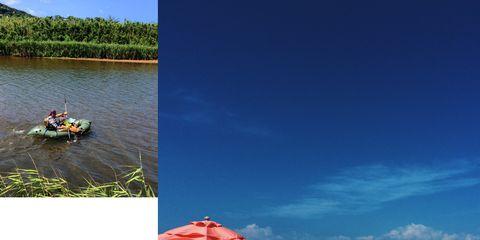 Tourism, Leisure, Umbrella, Sand, Watercraft, Ecoregion, People in nature, Vacation, Travel, People on beach,