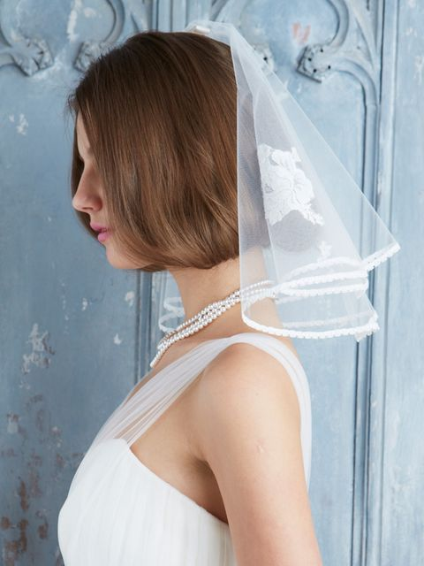Clothing, Hairstyle, Shoulder, Bridal accessory, Joint, Bridal clothing, Dress, Wedding dress, Bridal veil, Veil,