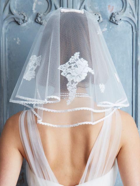 Bridal accessory, Bridal clothing, Veil, Wedding dress, Dress, Embellishment, Bridal veil, Bride, Headpiece, Hair accessory,