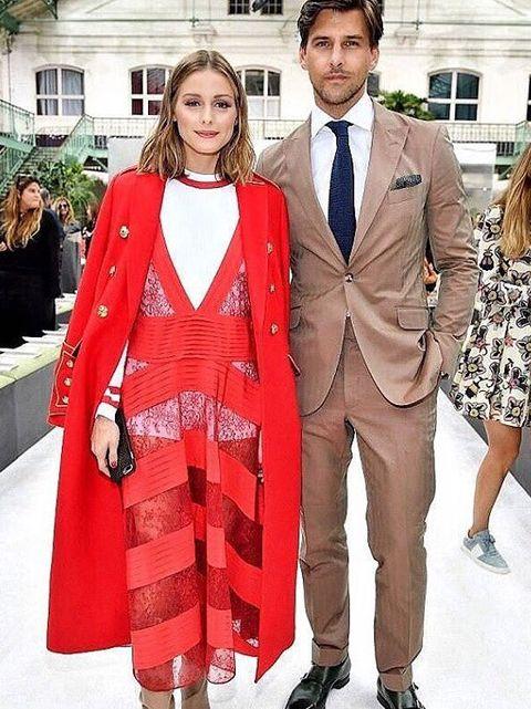 Clothing, Coat, Trousers, Collar, Dress shirt, Shirt, Red, Outerwear, Dress, Formal wear,