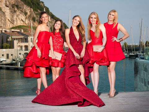 Red, Dress, Fashion, Event, Blond, Fun, Photography, Photo shoot, Gown, Model,