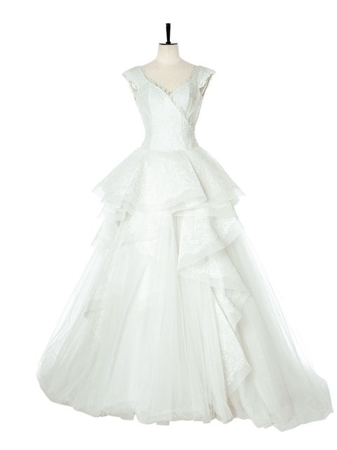 Clothing, Dress, Gown, Wedding dress, Bridal party dress, Shoulder, Bridal clothing, A-line, Strapless dress, Haute couture,