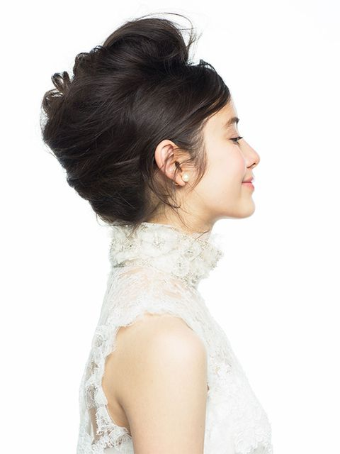 Clothing, Ear, Hairstyle, Skin, Shoulder, Dress, Bridal clothing, Bridal accessory, Style, Wedding dress,