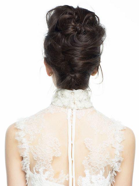 Hair, Shoulder, Clothing, Hairstyle, Neck, Lace, Dress, Chignon, Bun, Beige,