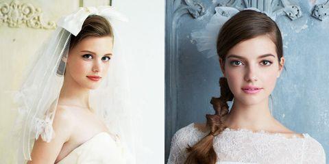 Hair, Veil, Clothing, Wedding dress, Dress, Hairstyle, Shoulder, Bride, Headpiece, Beauty,