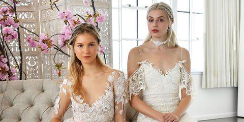 Wedding dress, Gown, Dress, Clothing, Bridal clothing, Photograph, Shoulder, Bride, Fashion, Pink,