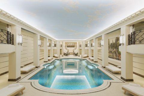 Swimming pool, Fluid, Property, Interior design, Real estate, Ceiling, Aqua, Turquoise, Azure, Villa,