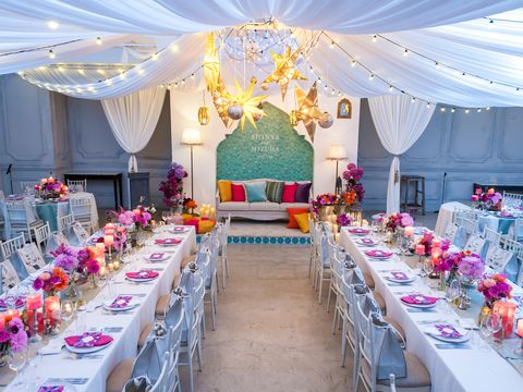 Tablecloth, Yellow, Decoration, Function hall, Textile, Petal, Furniture, Pink, Linens, Table,