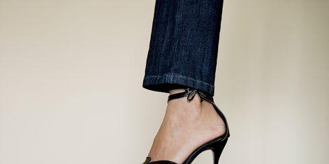 Brown, Product, Human leg, High heels, Denim, Foot, Sandal, Baggage, Strap, Ankle,