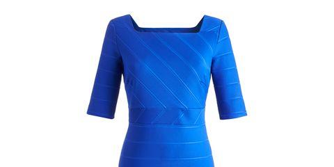 Blue, Sleeve, Dress, Standing, One-piece garment, Formal wear, Electric blue, Pattern, Cobalt blue, Aqua,