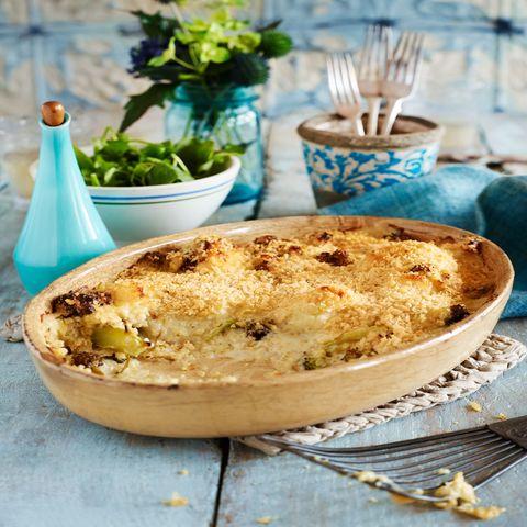 Roasted broccoli and cauliflower cheese bake