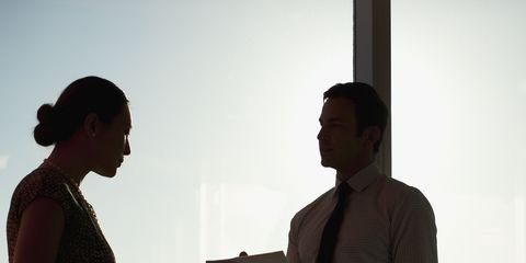 Standing, Suit trousers, Conversation, Collaboration, Pocket,