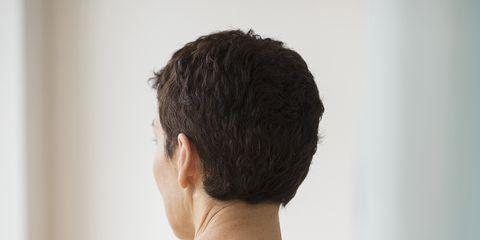 Ear, Hairstyle, Shoulder, Textile, Back, Neck, Bun, Pattern, Chignon,