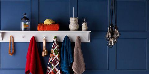 Blue, Plumbing fixture, Room, Bathroom sink, Porcelain, Interior design, Tap, Bathtub, Wall, Ceramic,
