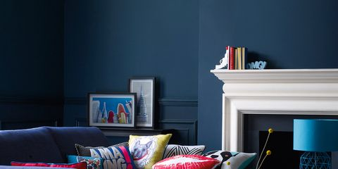 Blue, Room, Interior design, Living room, Furniture, Wall, Home, Red, Couch, Table,