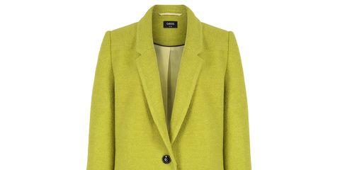 Clothing, Coat, Yellow, Collar, Sleeve, Textile, Outerwear, Blazer, Button, Overcoat,