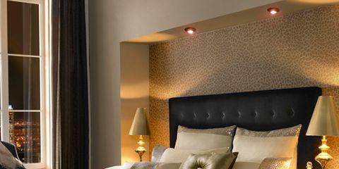 Lighting, Bed, Room, Interior design, Property, Floor, Bedding, Lamp, Bedroom, Textile,