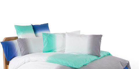 Blue, Bedding, Textile, Bedroom, Linens, Bed, Pillow, Bed sheet, Aqua, Electric blue,