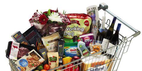 Shopping cart, Basket, Cart, Home accessories, Storage basket, Food storage, Present, Hamper, Gift basket, Convenience food,