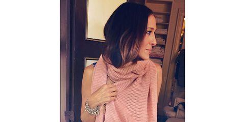 Textile, Style, Pattern, Street fashion, Long hair, Peach, Visual arts, Pattern, Day dress, Motif,