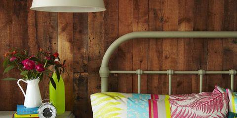 Room, Yellow, Green, Flowerpot, Interior design, Textile, Pink, Bedding, Furniture, Linens,