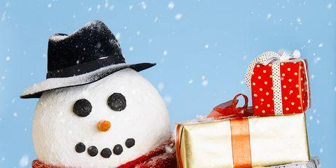 Snowman, Winter, Costume accessory, Snow, Christmas, Costume hat, Present, Fictional character, Creative arts, Precipitation,