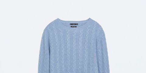 Blue, Product, Sleeve, Sweater, Textile, White, Electric blue, Woolen, Azure, Aqua,