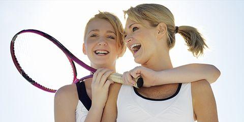 Clothing, Face, Sports equipment, Nose, Finger, Fun, Skin, Tennis racket, Elbow, Racket,