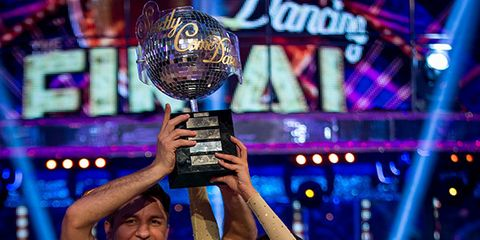 Smile, Purple, Award, Cobalt blue, Celebrating, Trophy, Fan,