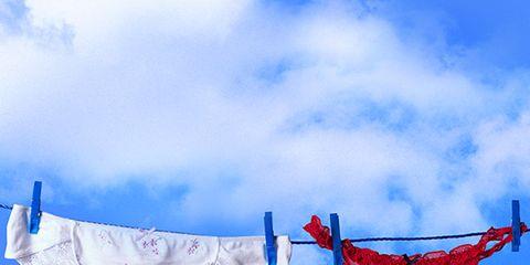 Blue, Natural environment, Cloud, Textile, Red, Undergarment, Shorts, Electric blue, Carmine, Azure,