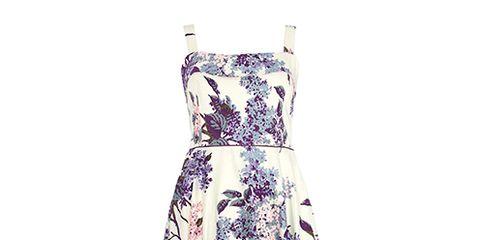 Dress, Textile, One-piece garment, Pattern, Day dress, Lavender, Pattern, Fashion design, Nightwear, Cocktail dress,