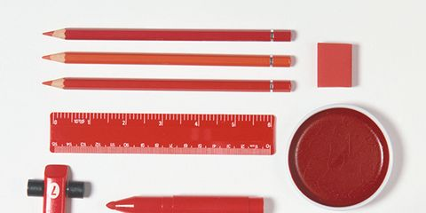 Red, Tool, Peach, Coquelicot, Kitchen utensil, Stationery, Tool accessory, Cosmetics,